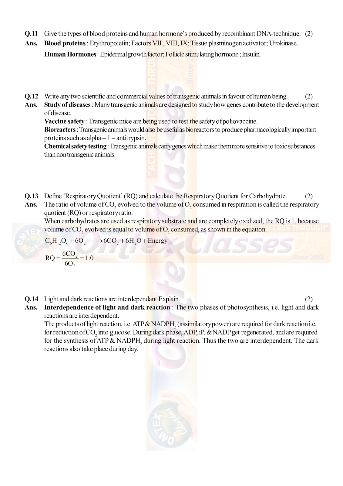OMTEX CLASSES MAHARASHTRA : XII HSC - BOARD - MARCH - 2019 BIOLOGY
