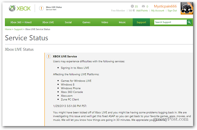 Xbox has a status page to alert customers to downtime and outages.