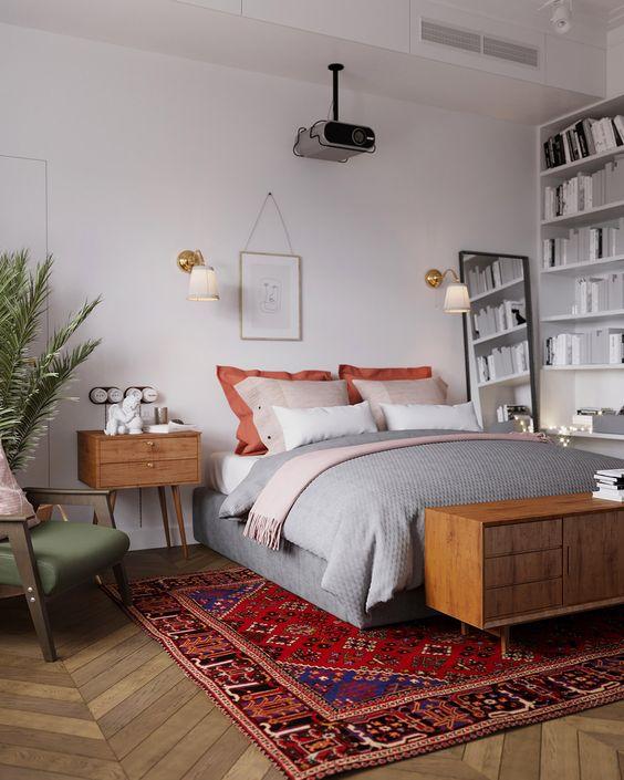 Scandinavian Look in Gray and White Bedroom