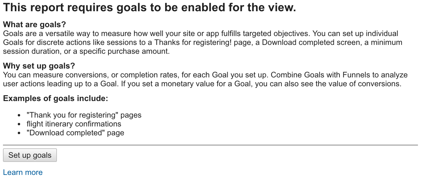 Enabling Goals in Google Analytics