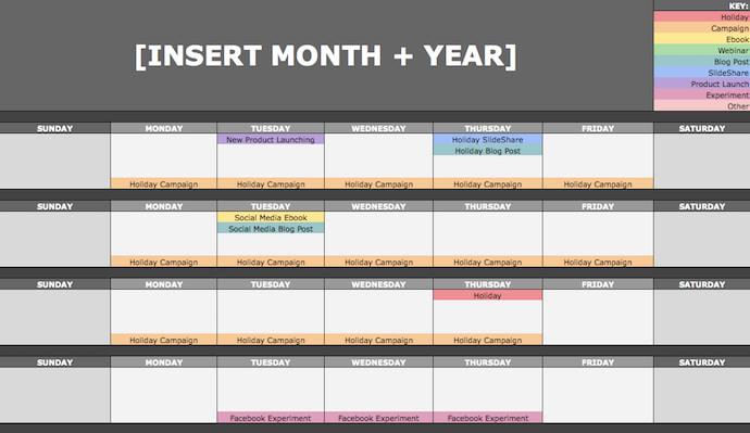 Editorial calendar template by HubSpot