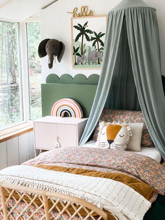 Animal Pillows On Little Girl's Bed