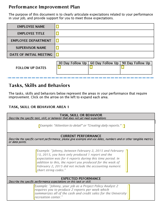 Managing Performance Challenges – Sample Employee Performance Improvement Plan Template