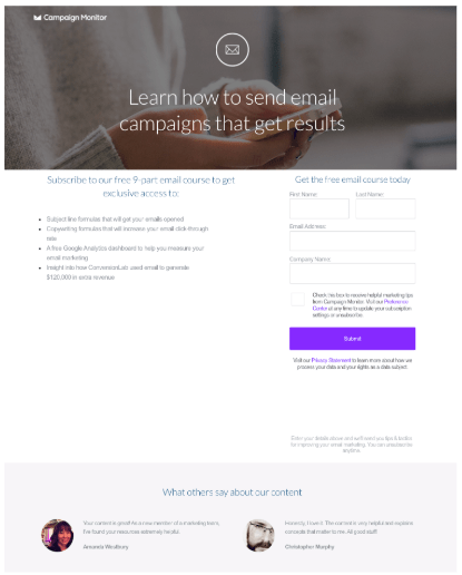 Lead generation landing page Campaign Monitor