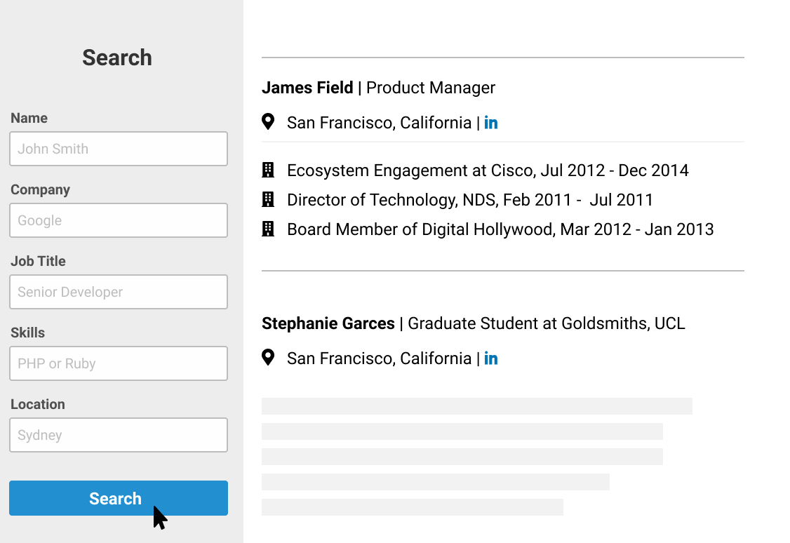 ContactOut's in-built email search engine that lets you find contacts that are not in LinkedIn