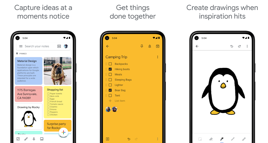 Google free note taking apps smartphone photos