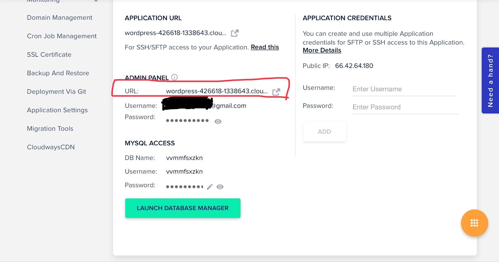 access details to wordpress site in cloudways