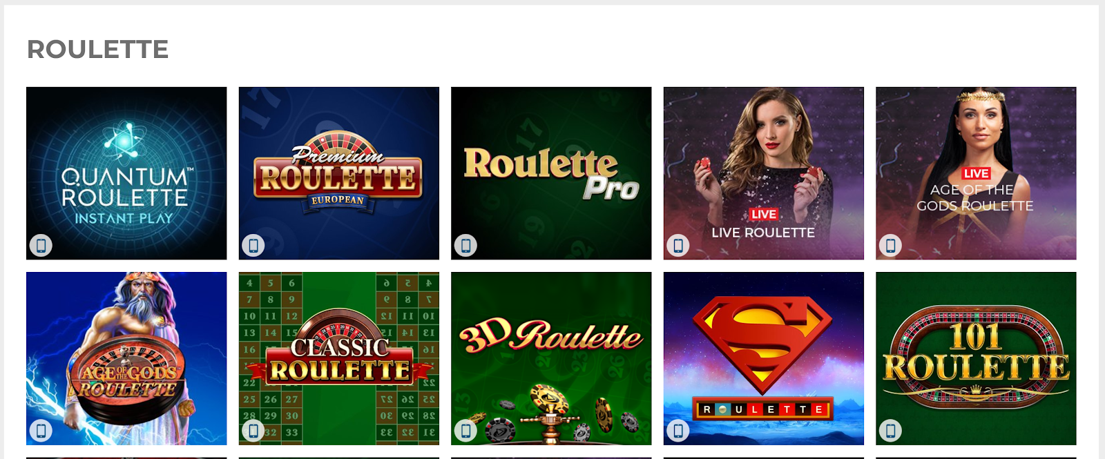 You can play plenty of great roulette games at The Sun Vegas Casino