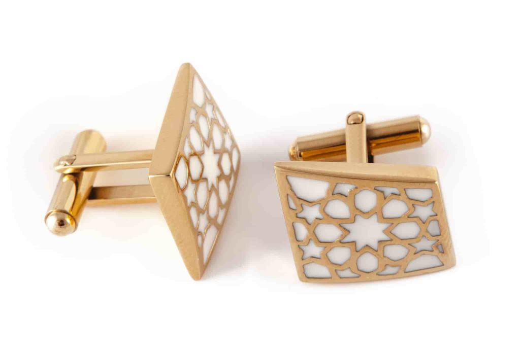 Cufflinks Rhombus Gold White