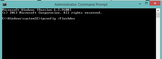 run Command Prompt as Administrator to flush dns
