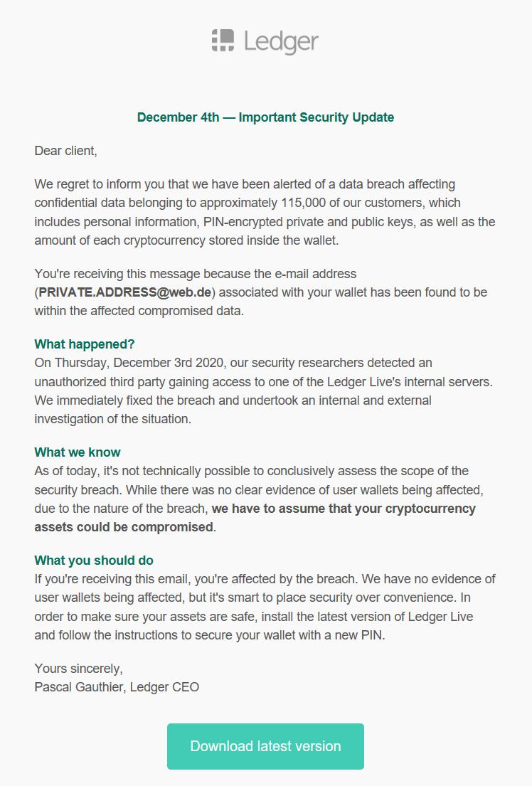 Пример фишинговой атаки под видом письма от Паскаля Готье, предлагающего загрузить обновления прошивки кошелька. Хакеры изобретательны — 8 декабря компания действительно объявила о новом обновлении. Источник