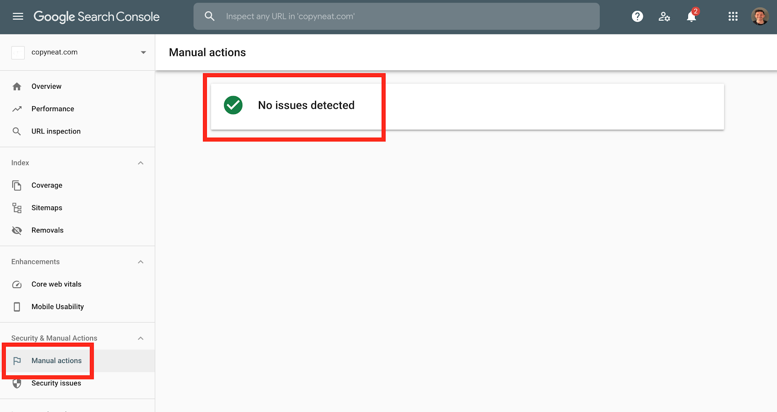 A healthy Google Search Console without manual actions