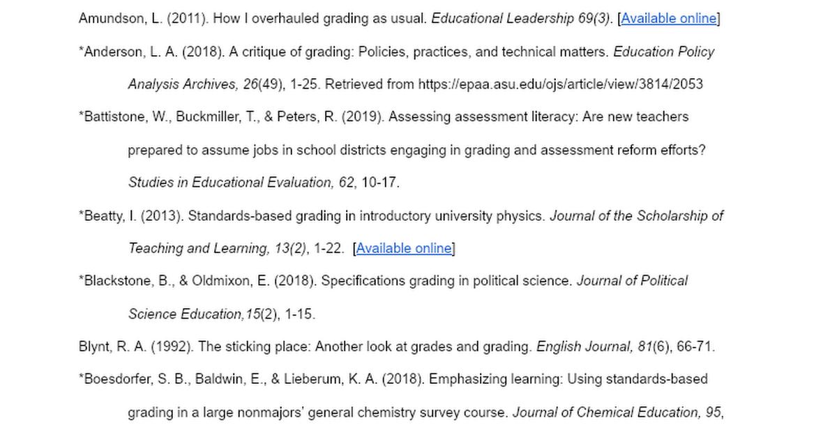 Standards-Based Grading Literature