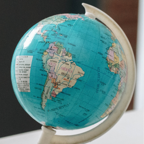 Globe showing South America