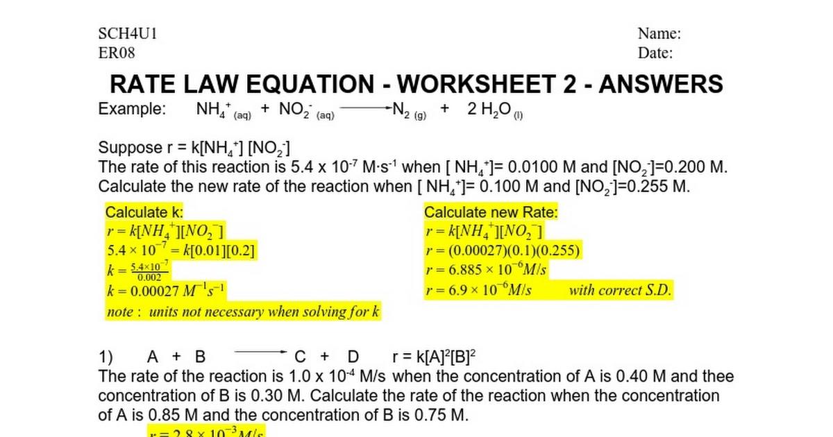 Er08 Rate Law Equation Worksheet 2 Answers Google Docs