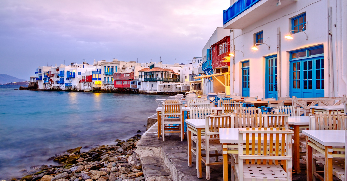 White houses by the sea in greece