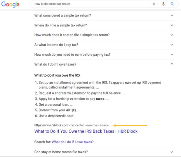 Screenshot of how to do online tax return zero click google search