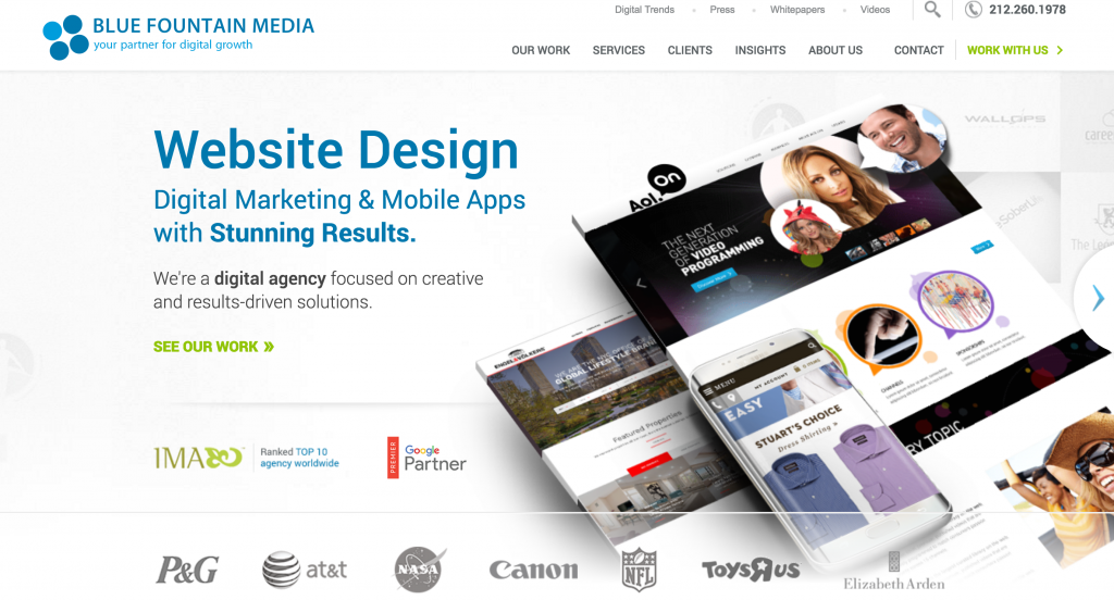 Blue Fountain Media's landing page.