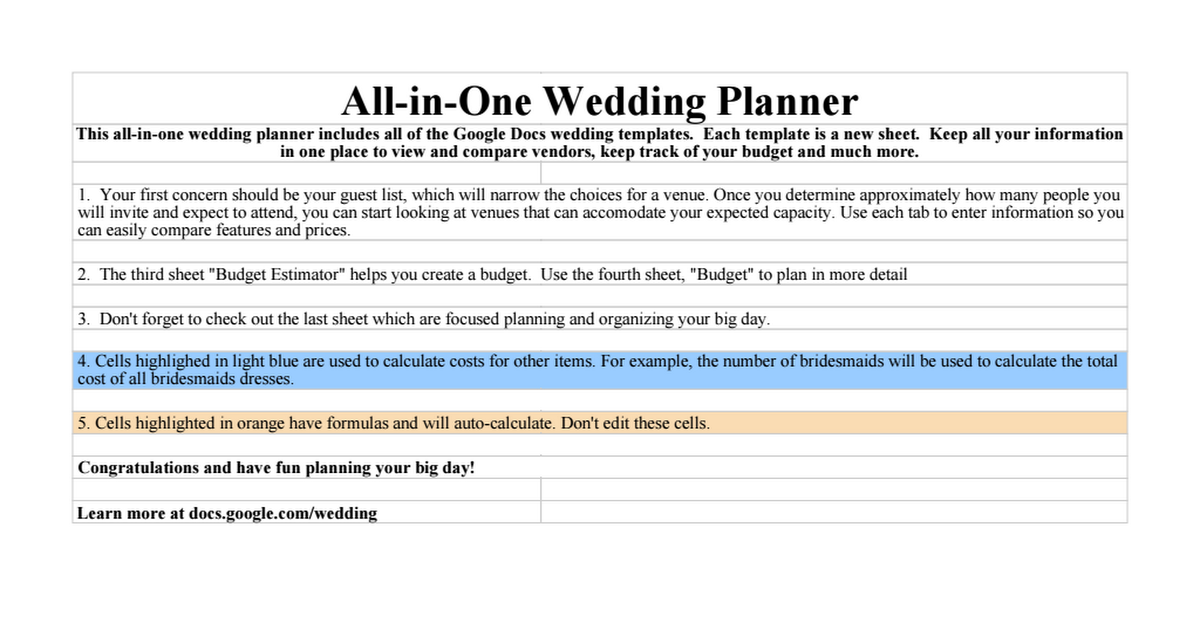 Wedding: All-in-One Wedding Planner - Google Sheets