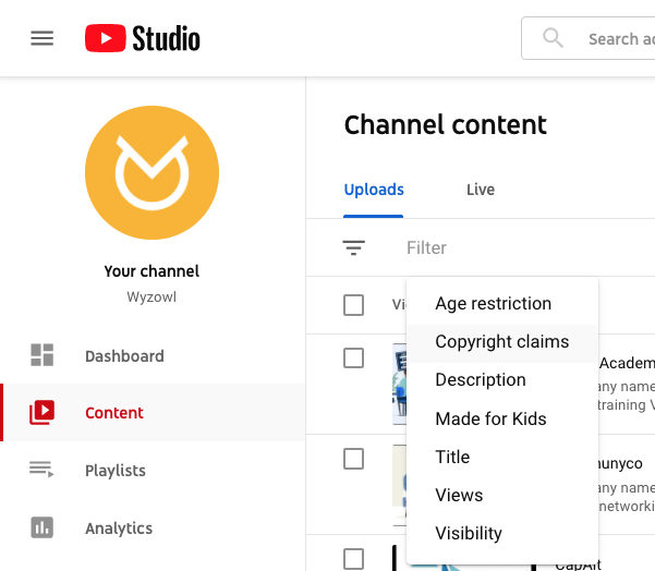 YouTube Studio copyright claims