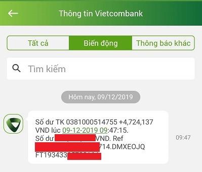 Rút tiền từ Aliniex về Vietcombank