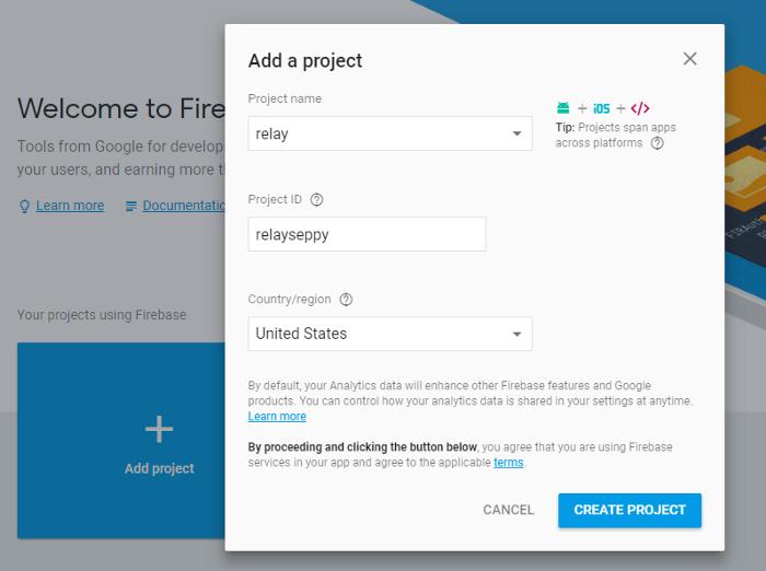 firebase add a project