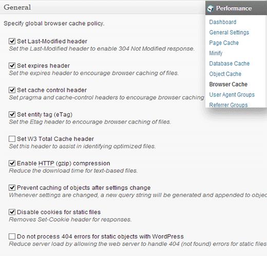 Thiết lập tùy chọn Cache của trình duyệt trong W3 Total Cache