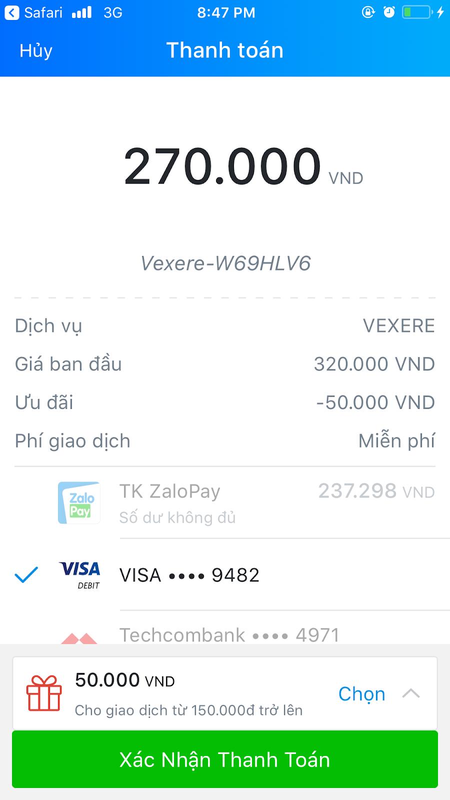 Hướng dẫn mua vé tại VeXeRe nhận khuyến mãi ZaloPay