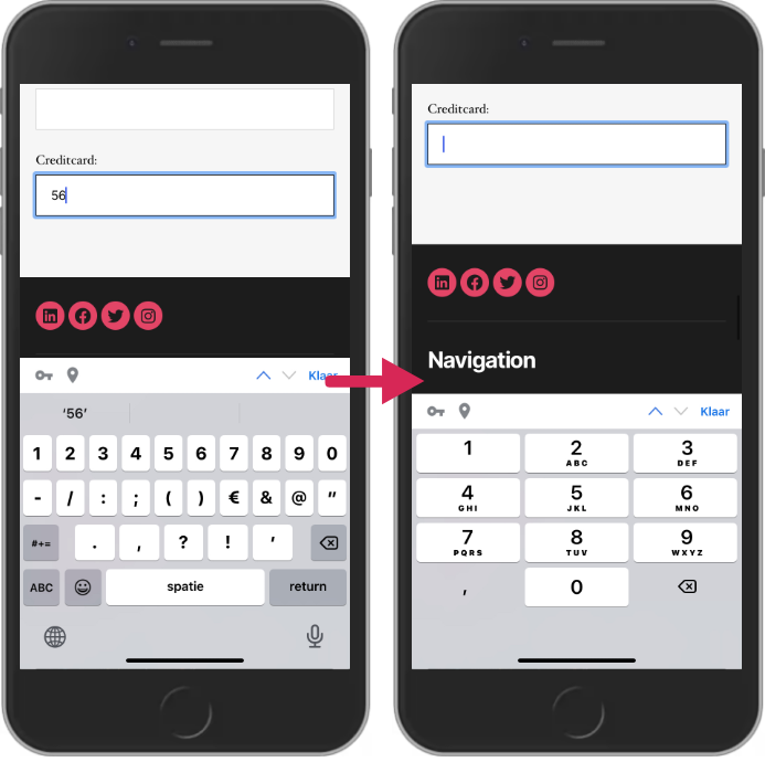 The code changes the appearance of the mobile keyboard to match a credit card input field
