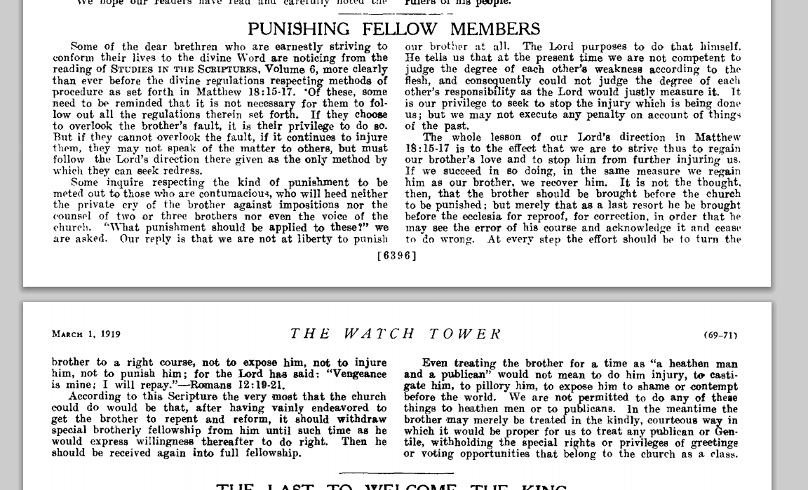 watchtower punishing fellow memember watchtower 1 march 1919 page 69.png