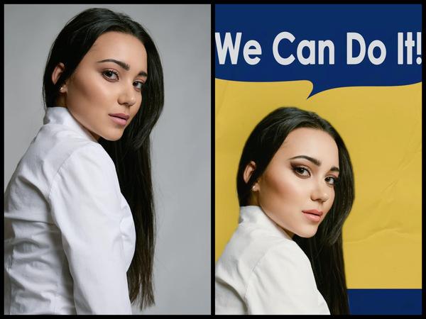 Montagem de 2 fotos com uma mulher posando de lado mostrando o antes e depois da edição.