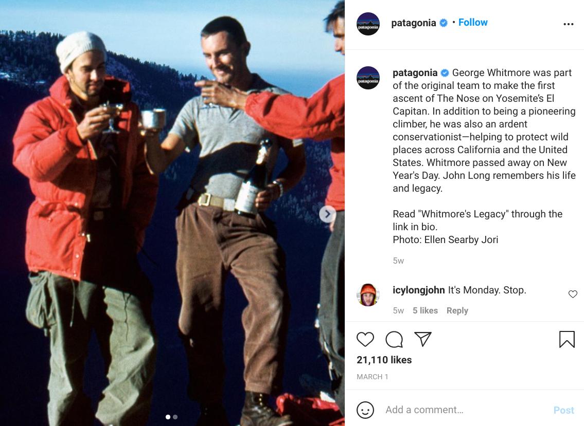 patagonia instagram post