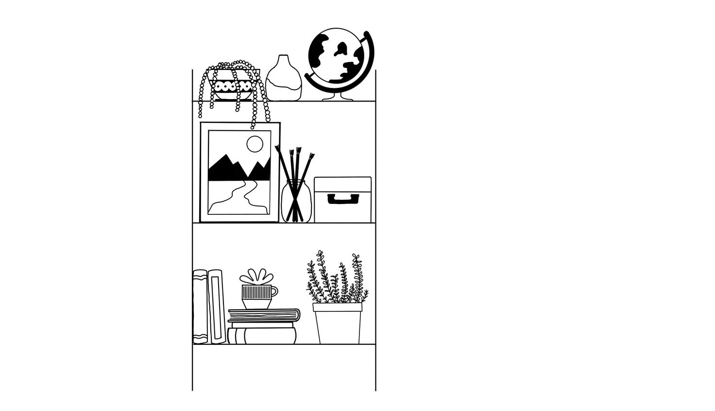 bookshelf drawing ideas for beginners