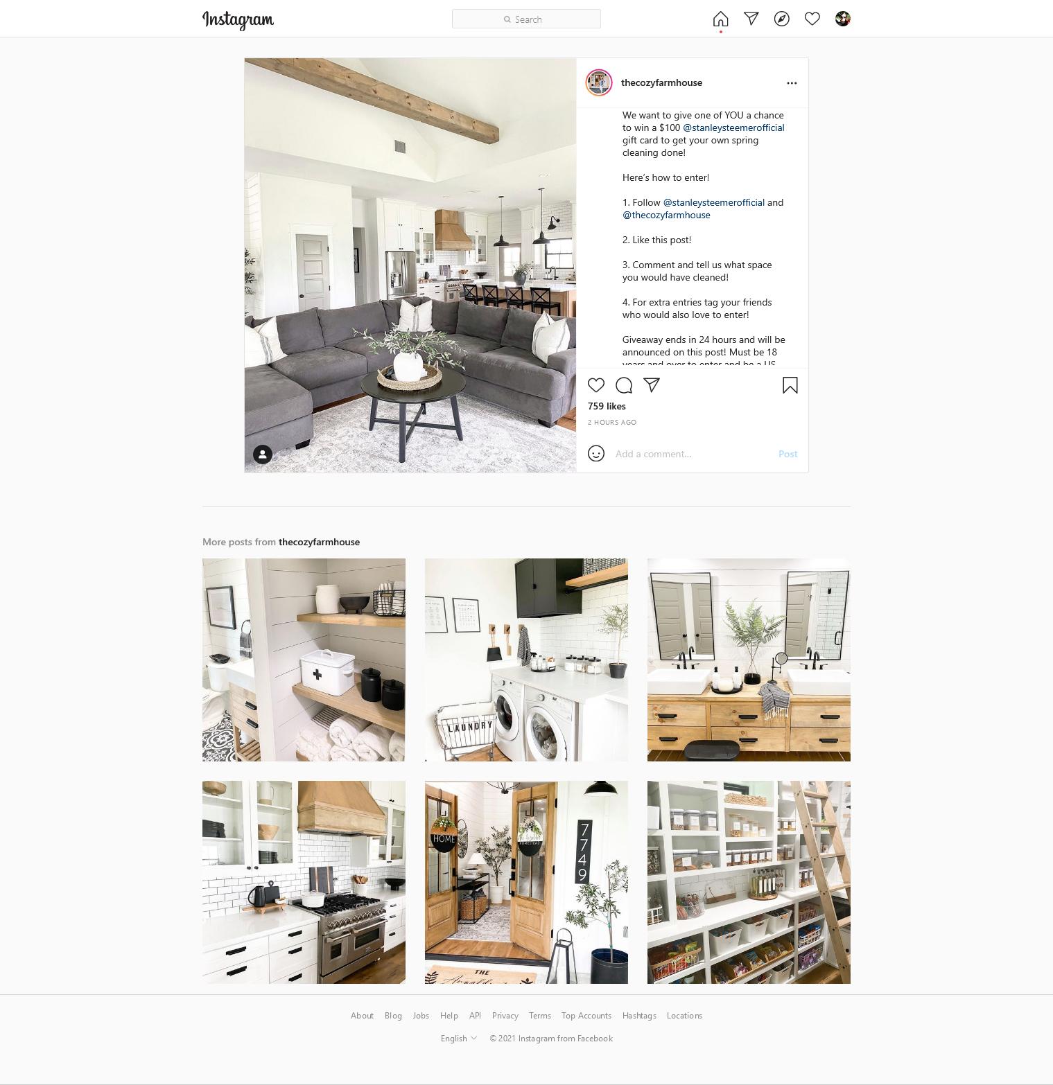 the cozy farm instagram giveaway