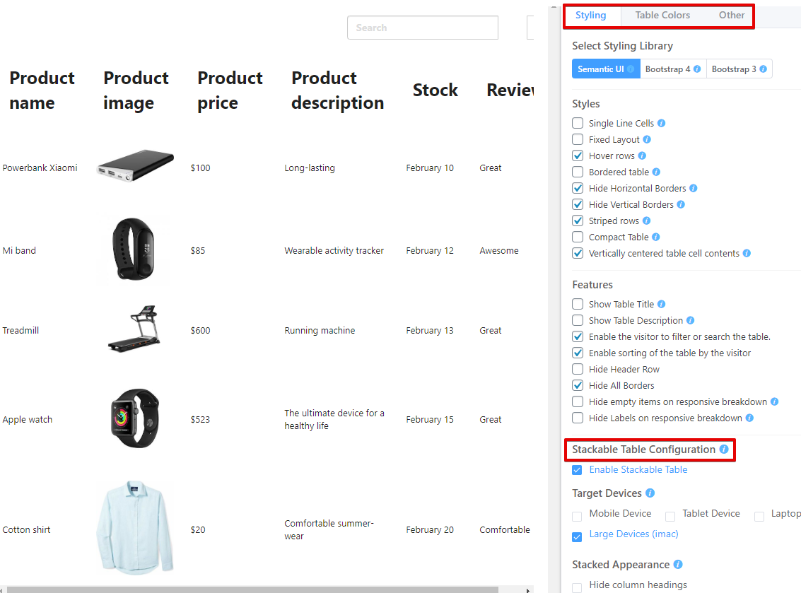 WooCommerce product table attributes