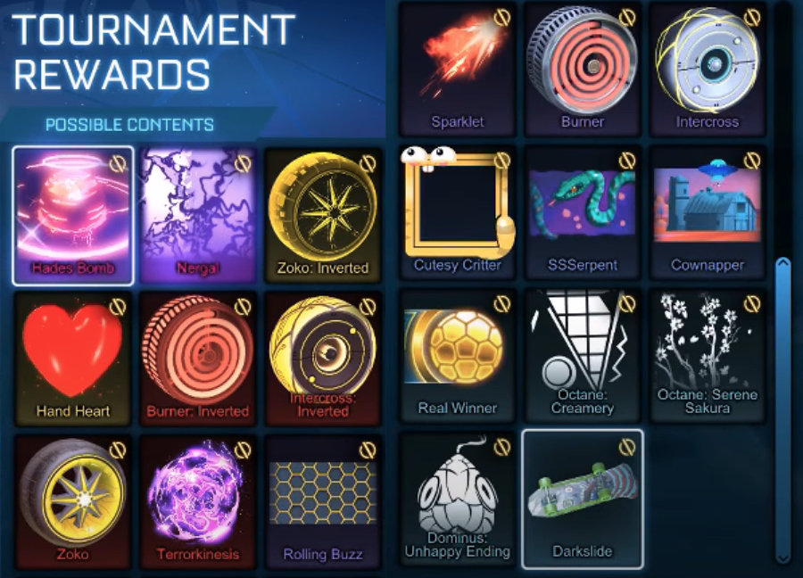 rocket league tournament rewards season 2