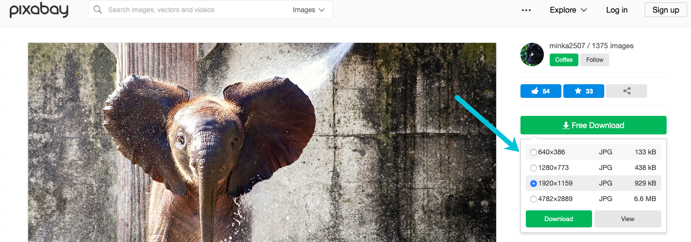 select image download size in pixabay