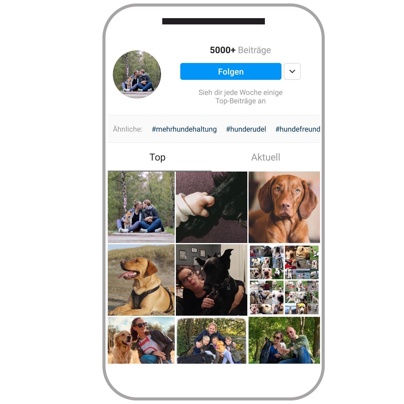 Hashtag-Übersichtsseite auf Instagram