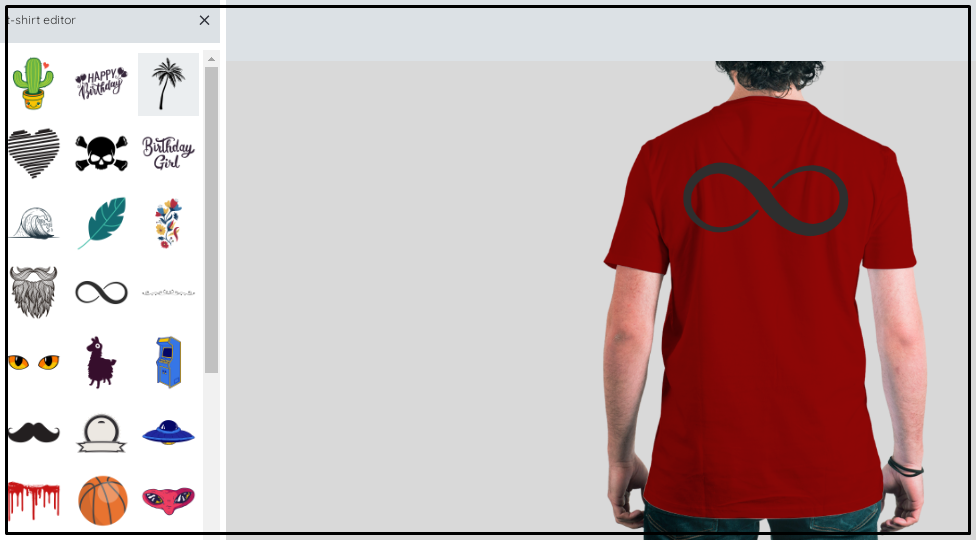A man wearing a red shirt with a black infinity sign
