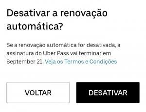 Captura de tela da página da Uber Pass desativar a renovação automática