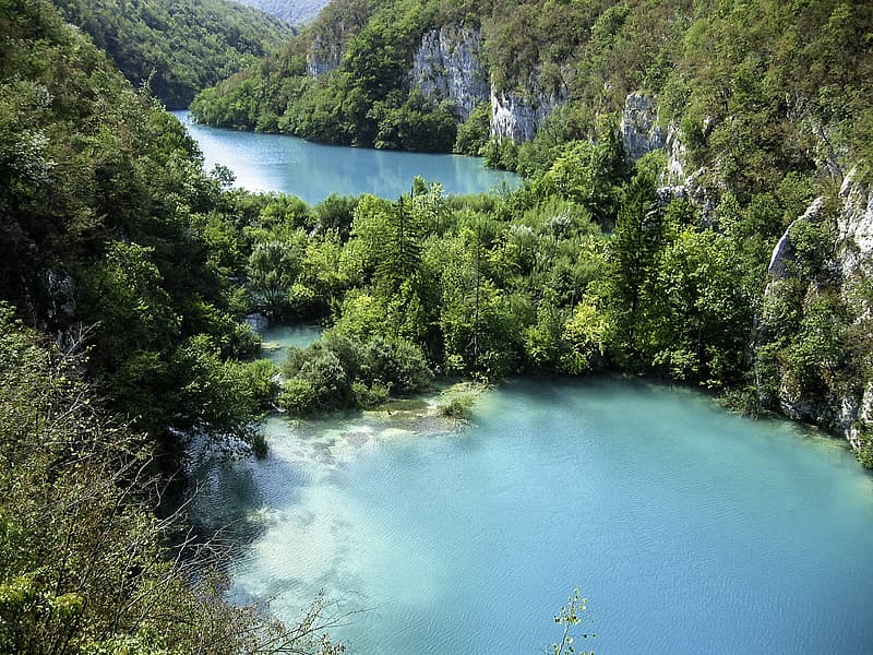 Aerial view of the Plitvice Lakes National Park