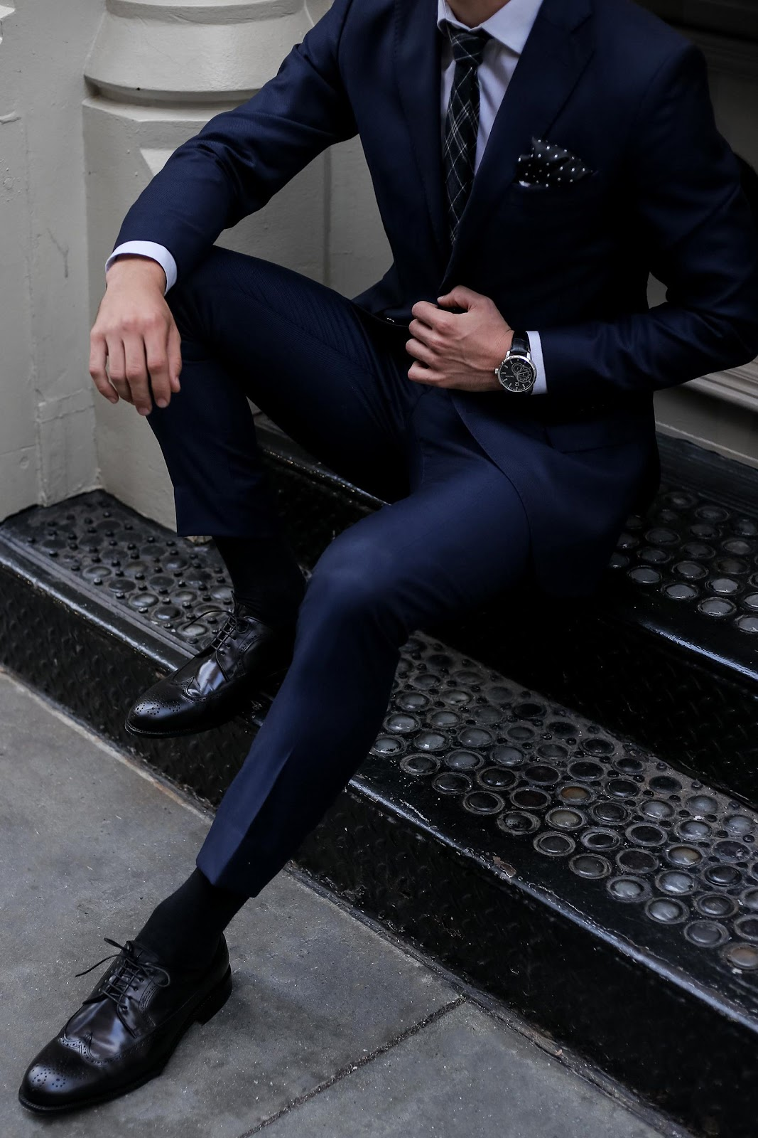 """The navy suit with black shoes could be in """"low risk but low return"""" results"""