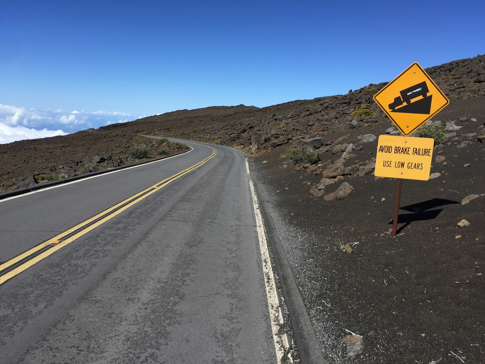 cycling Haleakala Volcano, road, steep grade sign, blue sky