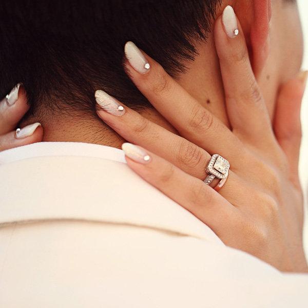 wedding nails with gem