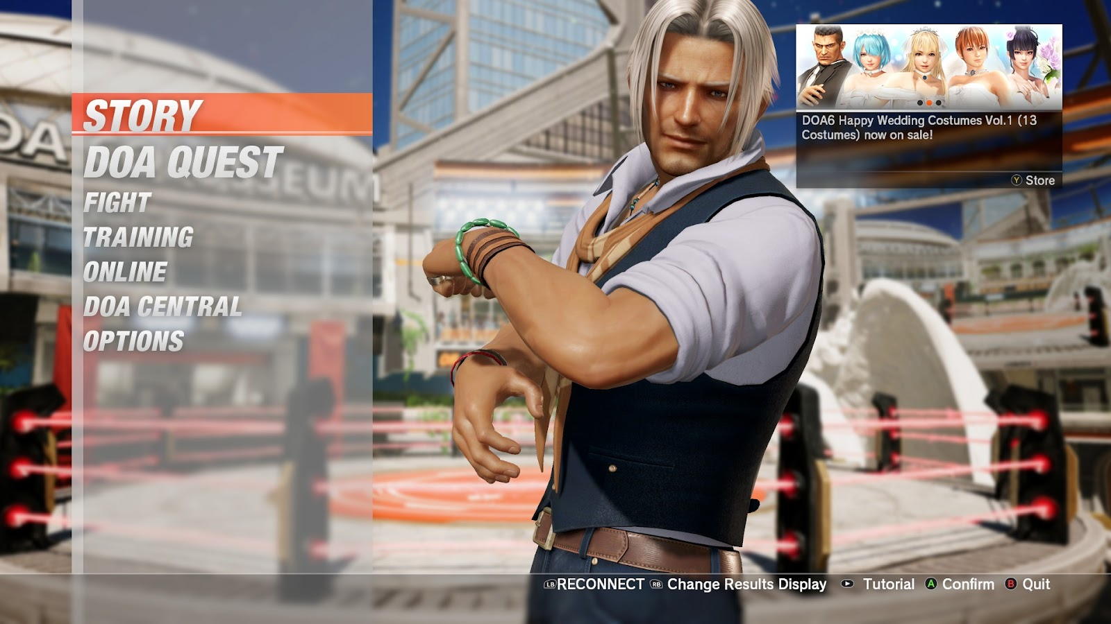 The Main menu showing a random character and the button interactions