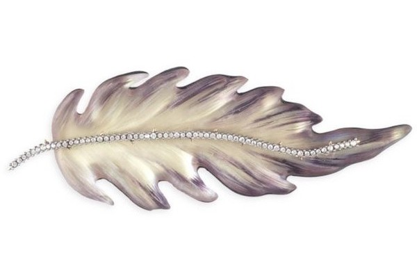 Alexis Bittar Crystal & Lucite Feather Brooch from Saks Fifth Avenue