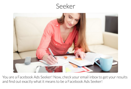 Seeker quiz result with a picture of a woman looking in a book