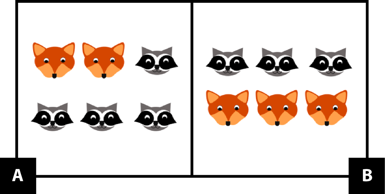 A. has 2 foxes and 1 raccoon in the top row and 3 raccoons in the bottom row. B. has 3 raccoons in the top row and 3 foxes in the bottom row.