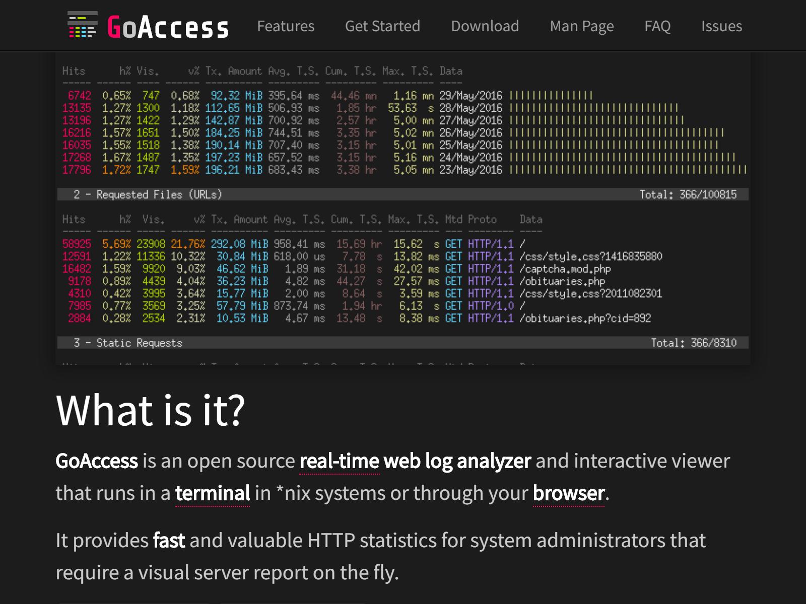 GoAccess - инструмент за проследяване в реално време на логовете на сървъра
