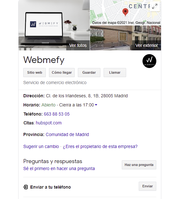 Crear una cuenta de Google My business